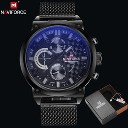2018 NAVIFORCE original fashion luxury brand men's watch stainless steel strap movement quartz watch man Calenda