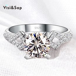 Visisap White gold color AAA cubic zirconia ring vintage jewelry Wedding rings gifts Jewelry Brand design high quality VSR050