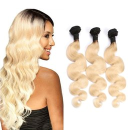 Grade 8A Ombre T1B 613 Blonde Color Human Hair Extensions Brazilian Virgin Hair Body Wave 3 Bundles 12-28inch Best Hair Products Dyeable