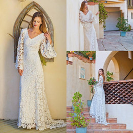 Vintage Lace Long Sleeve Wedding Gowns Bridal Dress 2017 V Neck Sweep Train Ivory Bohemian Beach Wedding Dresses