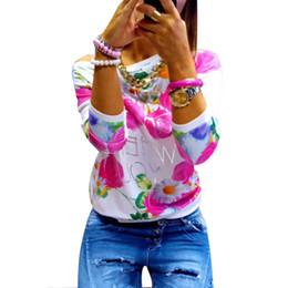 2017 imprimé floral t-shirts femmes Grossiste-Mode Printemps Automne Femmes Fille Longue Manches Floral Impression T-shirts Col ras du cou Homme Occasionnel Femme imprimé floral t-shirts femmes à vendre