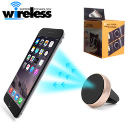 Wholesale Air Vent Magnetic Mobile Phone Holder For iPhone Samsung Magnet Car Phone Holder Aluminum Silicone Mount Holder Stand small package