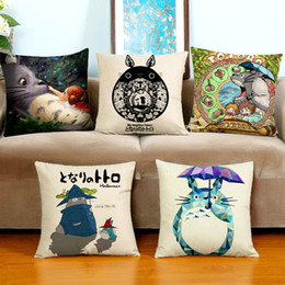 Wholesale Totoro decorative pillow creative home furnishing cushion with double sides printing linen cotton throw pillow case x17 inch