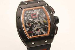 Regarder bracelet en caoutchouc noir en Ligne-Hot Sale Super Clone Brand Montre de Luxe Automatique Squelette 011 Montre Homme Argent Beze Montre Noir Gent Montre Bracelet en caoutchouc noir RM01