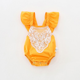 Wholesale INS styles Hot sell infant girl Summer clothing sets Cotton Stripped and dots Print romper baby Lace collar rabbit print clothing
