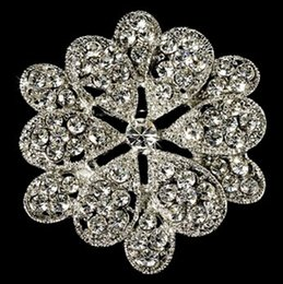 White Gold Plated Clear Crystal Diamante Flower Design Brooch