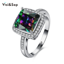 Visisap luxury ring colorful Square cubic rings Russian wedding gift for women engagement jewelry white gold color VLKN881