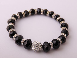 FREE SHIPPING 8MM,10MM,12MM BLACK CRYSTAL RONDAL AND FACET GLASS BEADED STRETCH BRACELET