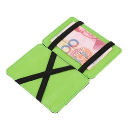 Corea hombres de moda Magic Carteras PU baratos Carteras Mágica Bolso Hombre Bolsillo Cartera Titulares de dinero Clip para los hombres de color naranja verde 6 A316 desde clips de bolsas fabricantes