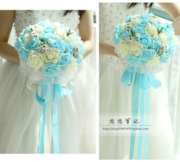 Wholesale 2017 Bouquet De Mariage Wedding Bouquet Handmade Flowers Cheap Green Turquoise Pink and Ivory Rose Artifical Bridal Bridesmaid Bouquets