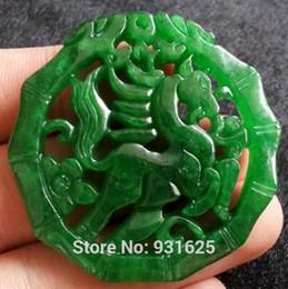 Beaux colliers à vendre-Jade Pendentif Jade Naturelle Belle Jade Sculpté Amulette Hollow Horse Pendentif Lucky + Collier Rope Jade Fashion Bijoux