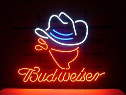 Promotion signes de cow-boy Mode New Handcraft BUDWEISER COWBOY vrai verre de bière affiche de néon 19x15! Meilleure offre!
