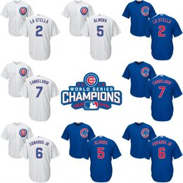 Wholesale Men World Series champions patch Chicago Cubs Tommy La Stella Albert Almora Jr Carl Edwards cool base Baseball Jerseys Stitched