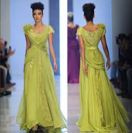 Wholesale Los vestidos de noche amarillos ponen en cortocircuito el cordón de las mangas con la flor hecha a mano de seda rebordearon los vestidos de noche del neckline de la cucharada