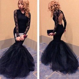 2019 Gorgeous Black Mermaid Prom Dresses Long Sleeves Sweep Train Lace Formal Evening Long Party Gowns Arabic Party Dress