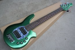 Free shipping Brand new 6 strings Musicman electric bass guitar with 24 fret in green color