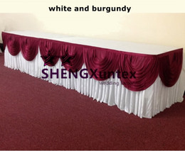 White 100% Ice Silk Table Skirt With Burgundy Swags \ Good Looking Table Skirting For Wedding