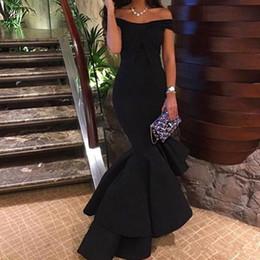 Descuento alfombra roja del hombro fuera 2017 Negro Sexy Sexy Hi-Lo de los hombros Vestidos de noche de sirena Tiered vestidos de fiesta Vestidos de fiesta de celebridad de alfombra roja por encargo