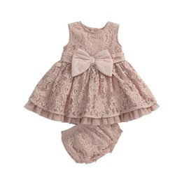 Wholesale Little Pink Underwear - 2017 Newest Little Girls Dress Children Lace Suits Dress +Underwear Girls Clothes Kids Sets 0-3Y Kid Dresses For Girls Costume