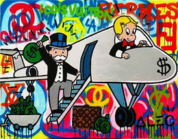 Wholesale Alec monopoly Airplane Pure Hand Painted Modern graffiti Art Oil Painting On Canvas any customized size accepted Blanket