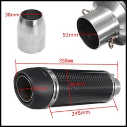 Universal 51 mm LeoVince Muffler Exhaust Tail Pipe Silencer Carbon Fiber Exhaust Tip with Removable DB Killer for Motorcycle Dirt Bike 350mm