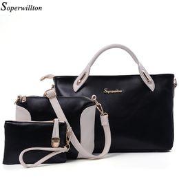 Wholesale Soperwillton China Brand Composite Bag Women Bags Set Soft PU Patchwork Panelled Fashion Shoulder Bag Ladies