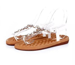 2017 Cheap White female channel rhinestone comfortable flats flip Women Sandals summer styles Girl shoes light weight Sandals On Sale