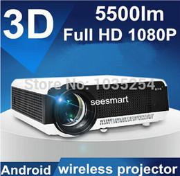 Acheter en ligne Complète android-Écran de gros 100 pouces de haute qualité Android 4.2 Wifi Smart TV numérique Projecteur Beamer Led projecteur 3D 1080P Full HD 5500Lumens