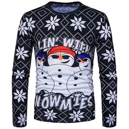 Free Shipping US Size S-2XL High Quality new men's T-shirt fashion snowman war 3D printing men's round neck long sleeve T-shirt