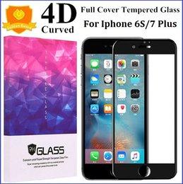 Descuento iphone vidrio de alta calidad Protector templado de la pantalla de la cubierta del vidrio 4D para el iPhone 7 6 6S más el rasguño anti de alta calidad de la dureza de los 0.2MM 9H con la caja al por menor Nueva llegada