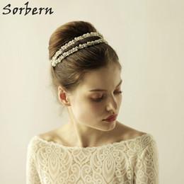 Sorbern Elegant Silver Gold Headbands Headpiece Crystal Wedding Hair Vine Pearls Bridal Headband Ceramic Flower Headdress Hair Accessories