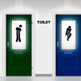 Wholesale 2017 Hot Sale Funny Toilet Entrance Sign Decal Vinyl Sticker For Home Creative Irrigation Room Sticker Diy
