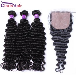 Silk Base Closure With Bundles Unprocessed Malaysian Hair Deep Curly Wave 4 Piece 100% Human Hair Weaves Closures Deep Curl