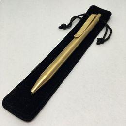 Wholesale Travel Kits Writing Tools Solid Brass Pen Press Ball Point Pen Portable EDC Brass Refillable Gel Pen