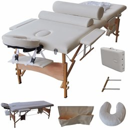 Wholesale 84 quot L Massage Table Portable Facial SPA Bed W Sheet Cradle Cover Bolster Hanger HB79184WH
