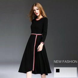 Wholesale Hot Sales Women Render Skirt Pure Black Color A Line Polyester Autumn Winter Lady Evening Dress European American Style YM16462