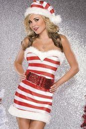 Wholesale Xmas Fancy Dress Sexy Unusual Adult Christmas Candy Cane Sparkle Knit Dress Costume W204017