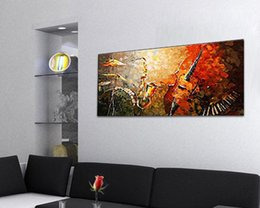 Wholesale Hand Painted Oil Paintings Gift Band Musical Instruments Panels Wood Inside Framed Hanging Wall Decoration