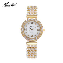 Wholesale Miss Fox Arrival Fashion Hot Sales Orignal Design Tribute To Classic Retro Lady Watches Pearls Adorned With Diamonds wristwatches