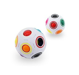2017 Newest Rainbow Ball magic cube White color infinite Football Puzzles Speed Football Fun Creative Spherical Magic Cube, Decompression ma