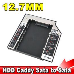 2017 una caja portadiscos disco Venta al por mayor SSD HDD HD Hard HDD Caddy 12.7mm caso externo SATA a SATA plástico 2 º para CD DVD DVD-ROM Optical Bay para Laptop presupuesto una caja portadiscos disco
