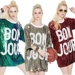 Fashion Women Loose Sequined Top Film Performance Nightclub DS Hip-Hop Letters Round Neck Collar Coat Hot sale T Shirt