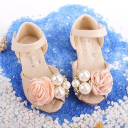 2017 sandalias de perlas flores Niños Niñas Sandalias Niñas Flor Bowtie Zapatos 2017 Niñas Niñas Cuero Perlas De Cuero De Vestido Zapatos Princesa Niños Dropship Zapatos S918 sandalias de perlas flores outlet