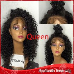 Sexy Afro Kinky curly Wigs Short Curly 150% Density Glueless Synthetic Lace Front Kinky Curly Wigs for African American Women Heat Resistant
