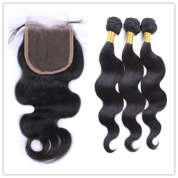 Hot Selling Body Wave Unprocessed Human Hair 3 Bundles Hair Weave With 1pc 4*4 Lace Closure Natural Color 8-26 inch