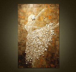Wholesale ballet Dancer Pure Hand Painted Modern Wall Decor Abstract Pop Art Oil Painting On High Quality Canvas Multi customized size a mei
