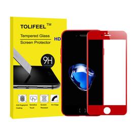Carbono especial en Línea-Vidrio templado delantero de la edición especial de 3D Red para el iPhone 6 6S 7 más la película cubierta del protector de la pantalla del borde de la fibra del carbón suave 9H