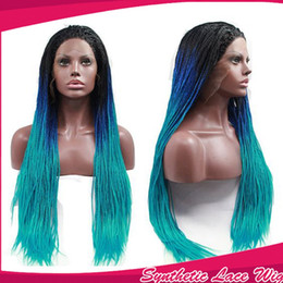 Charming Ombre Blue Braided Hair Glueless Synthetic Lace front Wigs with baby hair Heat Resistant Synthetic Braiding Wigs for black women