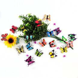 4cm Simulation 3D Butterfly Multicolor 3D Sticker Plug type butterfly for Flower plug