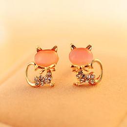 Hot Opal Stud Earrings Cute Diamond Cat Ear Studs Fashion Brand Crystal Animal Earrings For Women Mixed 3 Colors